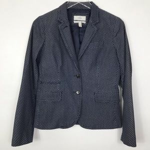 J Crew School boy Blazer Navy w/White polka dots